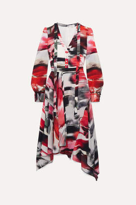 Alexander McQueen Asymmetric Printed Silk Crepe De Chine Midi Dress - Red