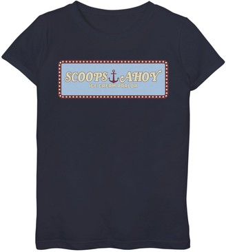 Licensed Character Girls 7-16 Netflix Stranger Things Scoops Ahoy Ice Cream Parlor Logo Graphic Tee