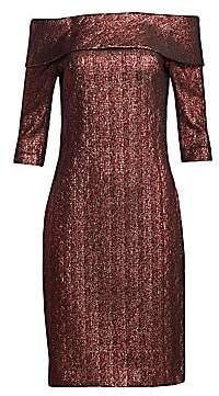 Teri Jon by Rickie Freeman Women's Metallic Off-The-Shoulder Midi Dress