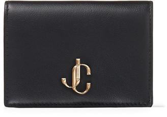 Jimmy Choo MYAH Black Calf Leather Bi-Fold Wallet with JC logo