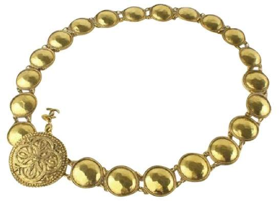 Chanel Gold Tone Metal Medallion Necklace