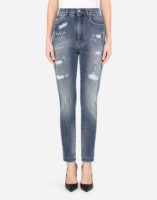 Dolce & Gabbana Audrey Jeans In Blue Denim With Rips