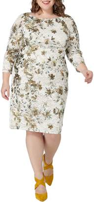 Maree Pour Toi Floral Foil Print Lace Sheath Dress
