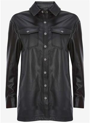 Mint Velvet Black Faux Leather Shacket