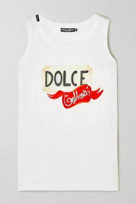 Dolce & Gabbana Printed Cotton-jersey Tank - White