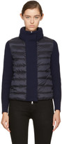 Moncler Black & Navy Down Knit Jacket