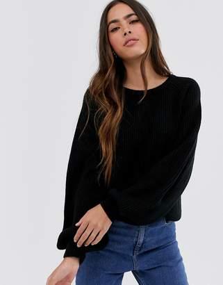Vila balloon sleeve rib knitted jumper-Black