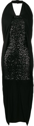Balmain High Low Sequinned Dress