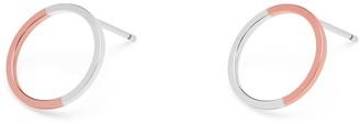 Myia Bonner 9k Rose Gold & Silver Circle Stud Earrings