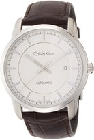 Calvin Klein Men's Brown Leather Band Steel Case Automatic Watch K5s341g6