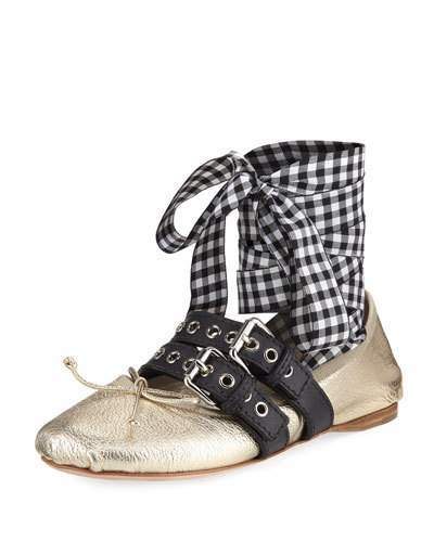 Miu Miu Metallic Flat with Gingham Wrap, Gold