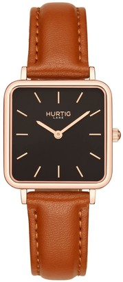 Hurtig Lane Nelio Square Vegan Leather Watch Rose Gold/Black/Tan