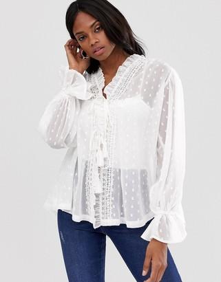 Asos Design DESIGN long sleeve sheer open blouse in dobby-White