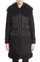Moncler 'Annette' Mixed Media Down Coat with Genuine Mongolian & Genuine Kalgan Lamb Fur Trim