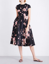 Rochas Rose-print satin dress