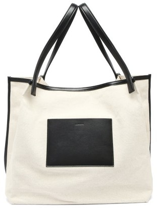 Jil Sander Leather-trimmed Canvas Tote Bag - Black Cream