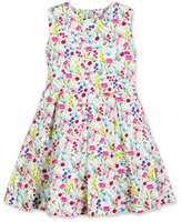 Oscar de la Renta Sleeveless Botanical Flora Cotton Party Dress, Multicolor, Size 4-14