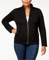 Karen Scott Plus Size Knit Mock-Neck Jacket, Created for Macy's