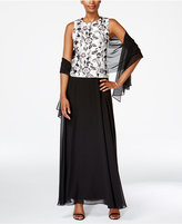 Alex Evenings Sleeveless Floral-Print Gown and Shawl