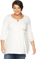 Motherhood Web Only Plus Size 3/4 Sleeve Scoop Neck Lace Trim Maternity Top