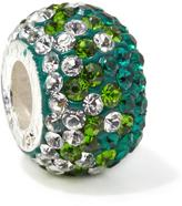 Sterling Silver 2-Tone Green and Clear Crystal Bead Charm