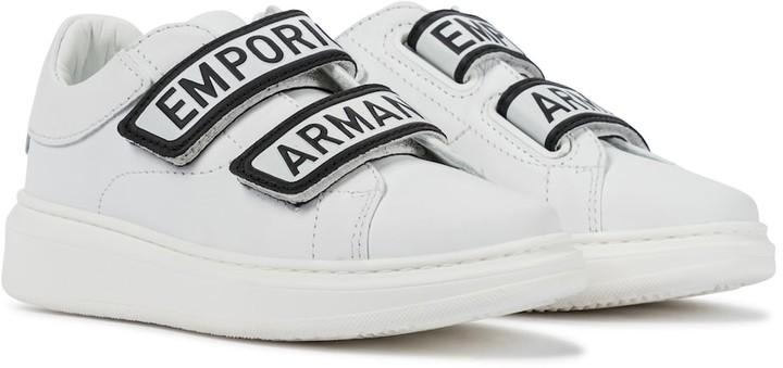 Emporio Armani Kids Logo leather sneakers