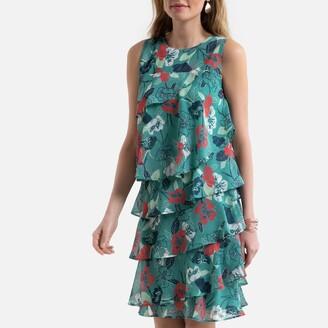 Anne Weyburn Sleeveless Tiered Ruffled Dress in Floral Print