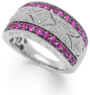 Macy's Ruby (5/8 c.t. t.w.) and Diamond (1/10 c.t. t.w.) Antique Band in Sterling Silver