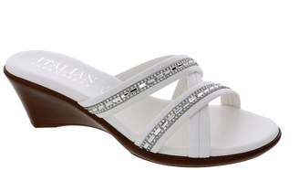 Italian Shoemakers Passion Embellished Criss-Cross Strap Wedge Sandal
