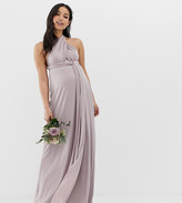 TFNC Maternity Maternity bridesmaid exclusive multiway maxi dress in gray