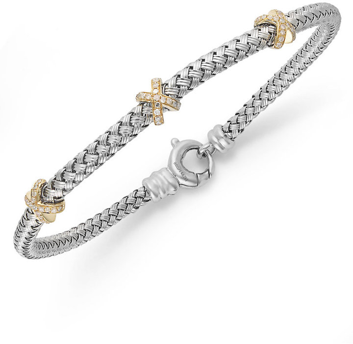 Balissima by EFFY Diamond Woven X Bracelet (1/6 ct. t.w.) in 14k Gold over Sterling Silver and Sterling Silver