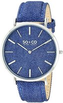 SO&CO New York Unisex 5103.2 SoHo Quartz Blue Denim Covered Genuine Leather Strap Watch