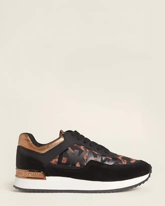 DKNY Black & Camel Marie Leopard Low-Top Sneakers