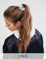 Asos Basics Pack of 2 Gray and Nude Jersey Hair Scrunchies