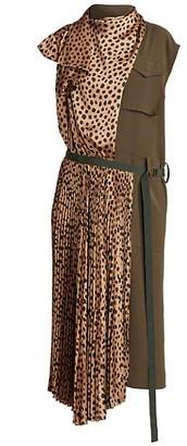 Sacai Leopard-Print Wrapped Utility Midi Dress
