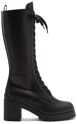 Miu Miu Chunky-sole Lace-up Leather Knee-high Boots - Black
