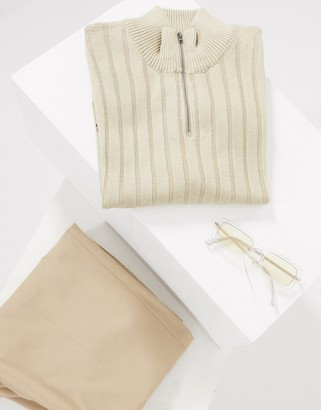 ASOS DESIGN knitted muscle fit half zip t-shirt in oatmeal