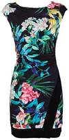 Wallis Petite Black Tropical Floral Ruche Side Dress