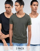Asos 3 Pack T-Shirt With Scoop Neck In White/Black/Green