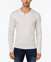 Alfani Men's Heather Long-Sleeve Split Crewneck T-Shirt