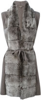 N.Peal furry belted cardi-coat - women - Rabbit Fur/Cashmere - XS