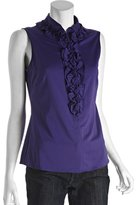 Tahari sultan purple ruffle front 'Delores' sleeveless blouse
