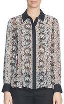 CeCe Lacescape Long Sleeve Button-Front Blouse