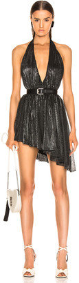 Saint Laurent Asymmetrical Plunging Mini Dress in Black & Silver | FWRD