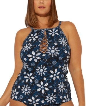 BLEU by Rod Beattie Plus Size Take A Dip Printed High-Neck Underwire Tankini Top Women's Swimsuit