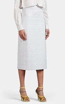 Fendi Women's Logo-Embossed Leather Pencil Skirt - White