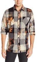 Akademiks Men's Viking Bleach Splatter Buffalo Check Shirt