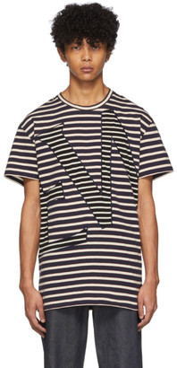 Loewe Navy and Off-White Striped Logo T-Shirt