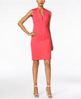 Calvin Klein Scalloped V-Neck Sheath Dress