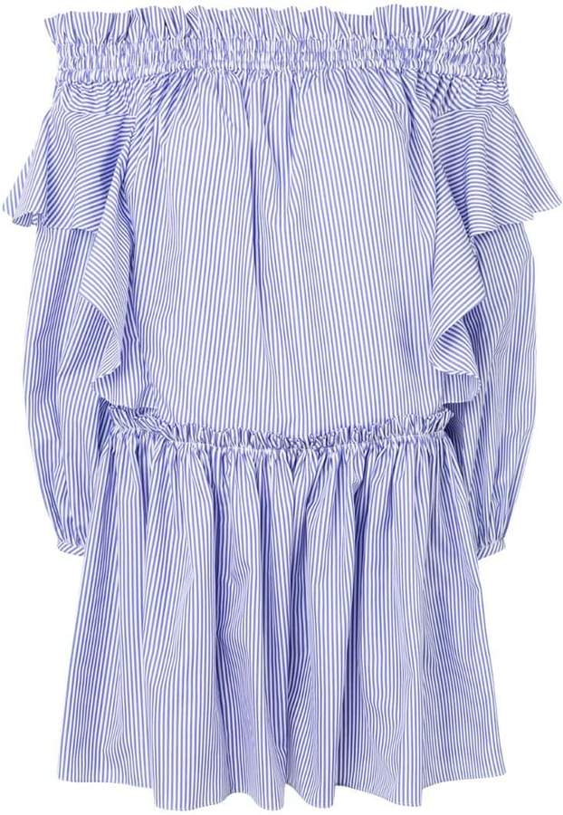 Alexander McQueen off-shoulder striped dress